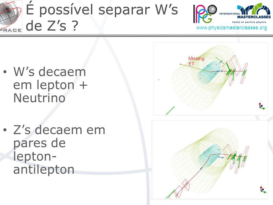 É possível separar W's de Z's