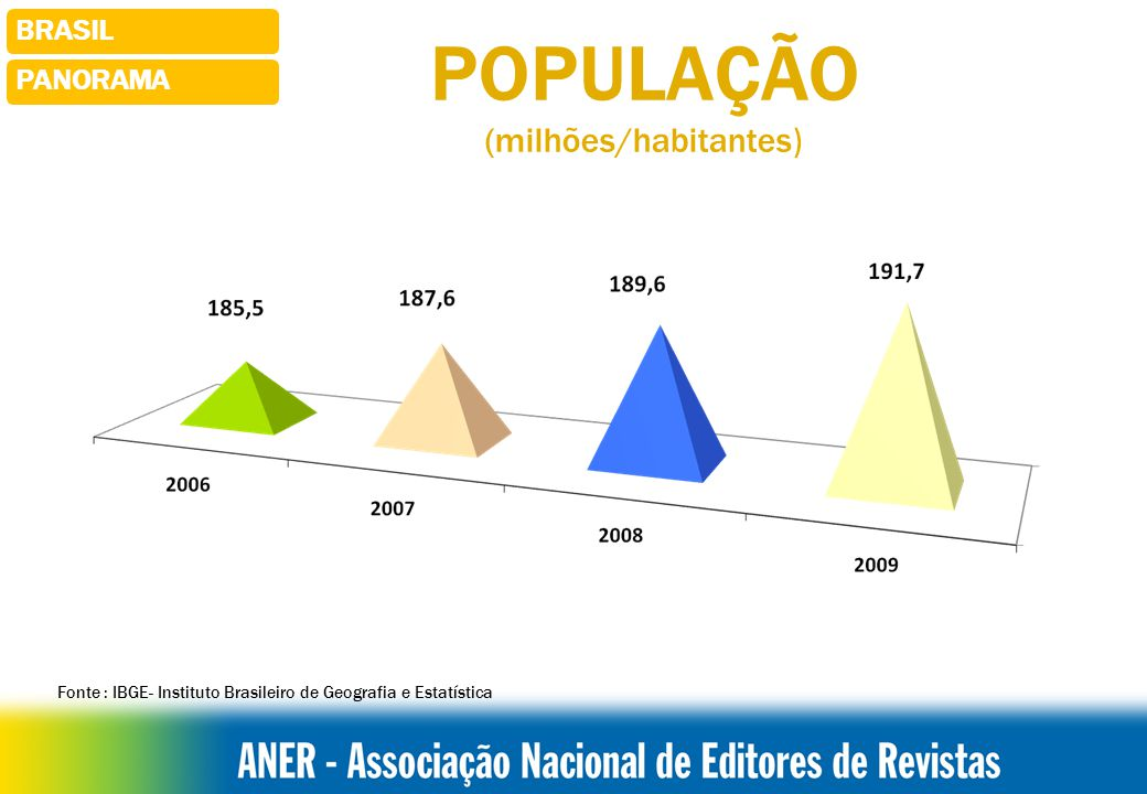 POPULAÇÃO (milhões/habitantes) PANORAMA BRASIL