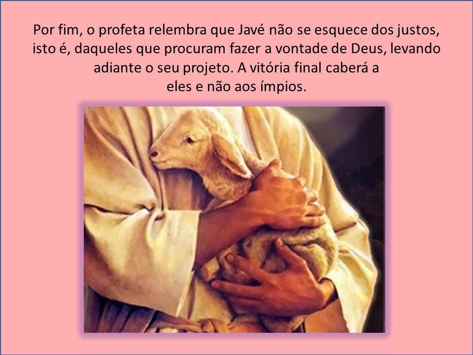Por fim, o profeta relembra que Javé não se esquece dos justos, isto é, daqueles que procuram fazer a vontade de Deus, levando adiante o seu projeto. A vitória final caberá a