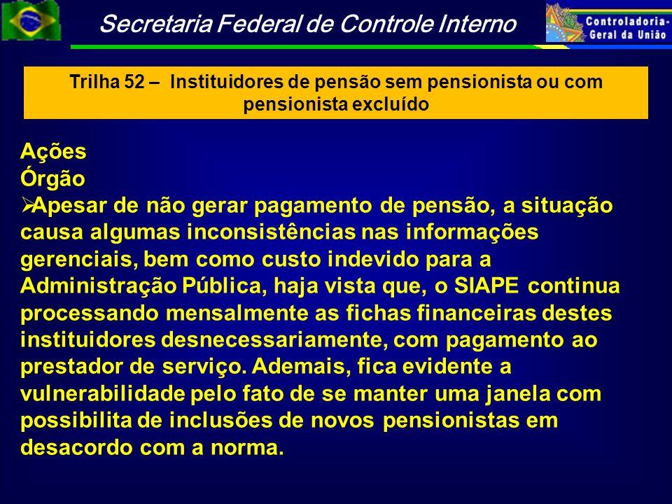 Trilha 52 – Instituidores de pensão sem pensionista ou com pensionista excluído