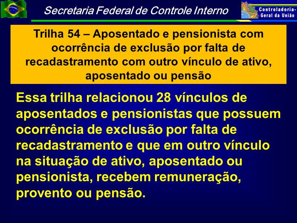 Trilha 54 – Aposentado e pensionista com ocorrência de exclusão por falta de recadastramento com outro vínculo de ativo, aposentado ou pensão