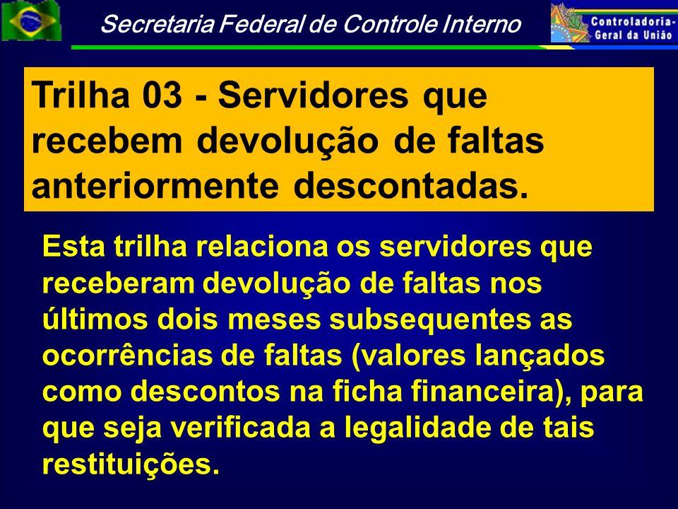 Trilha 03 - Servidores que recebem devolução de faltas anteriormente descontadas.