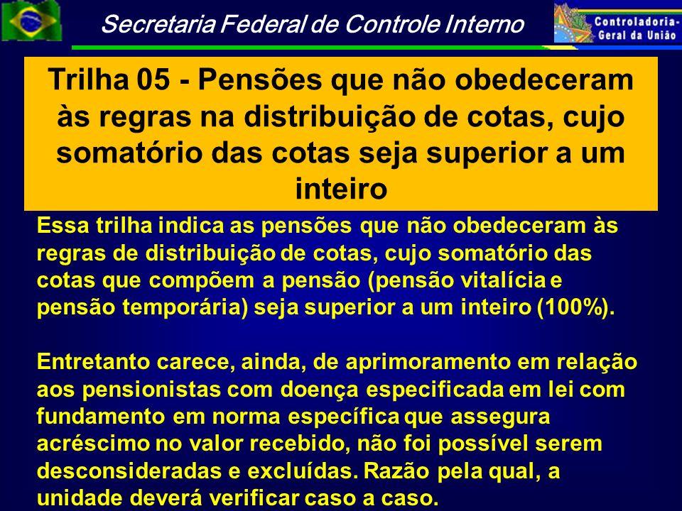 Trilha 05 - Pensões que não obedeceram às regras na distribuição de cotas, cujo somatório das cotas seja superior a um inteiro