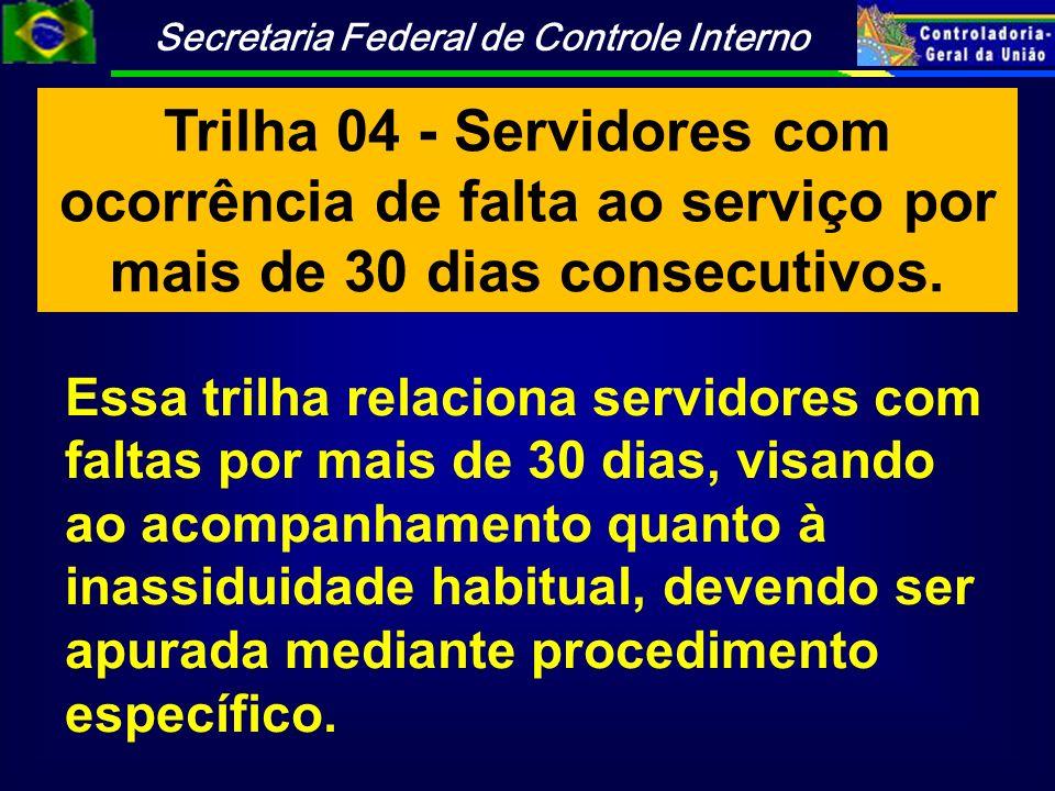 Trilha 04 - Servidores com ocorrência de falta ao serviço por mais de 30 dias consecutivos.