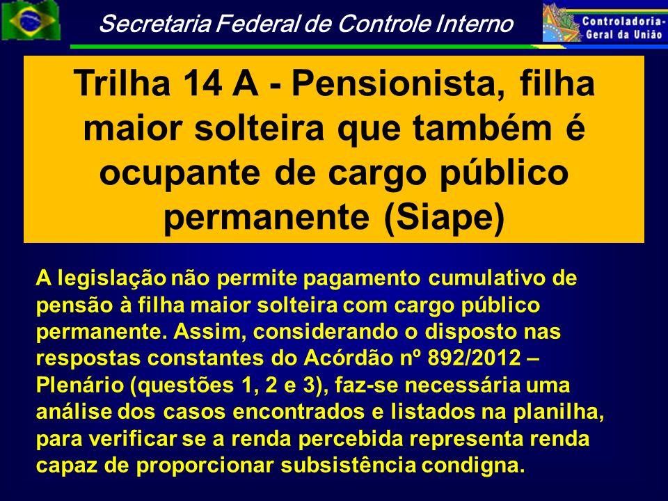 Trilha 14 A - Pensionista, filha maior solteira que também é ocupante de cargo público permanente (Siape)