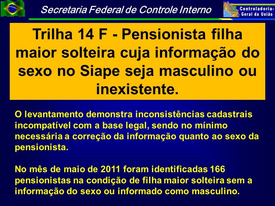 Trilha 14 F - Pensionista filha maior solteira cuja informação do sexo no Siape seja masculino ou inexistente.