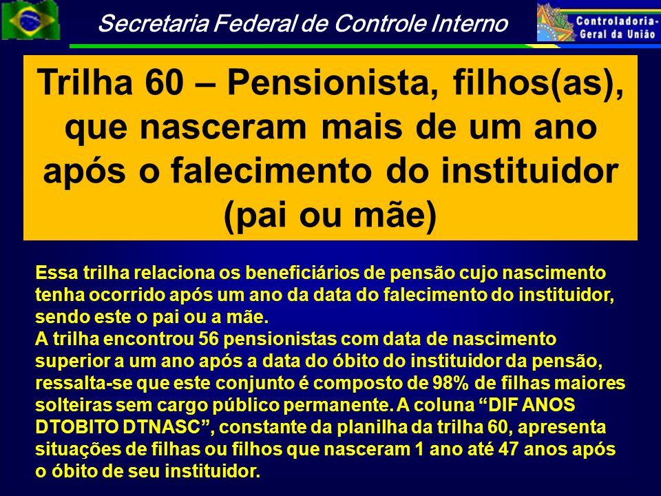 Trilha 60 – Pensionista, filhos(as), que nasceram mais de um ano após o falecimento do instituidor (pai ou mãe)