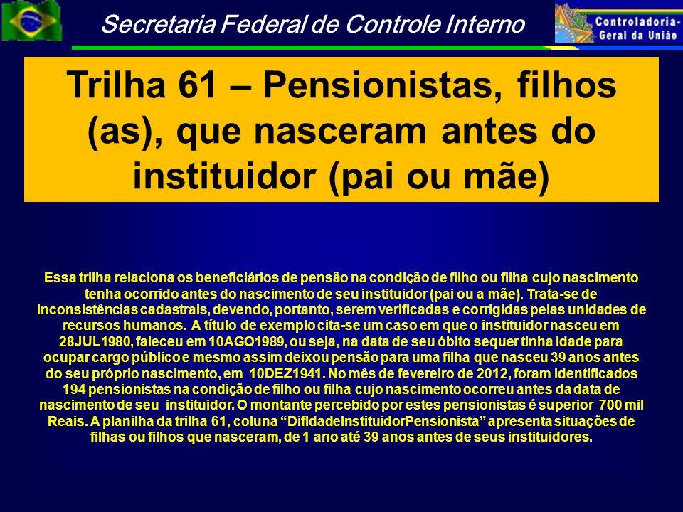 Trilha 61 – Pensionistas, filhos (as), que nasceram antes do instituidor (pai ou mãe)
