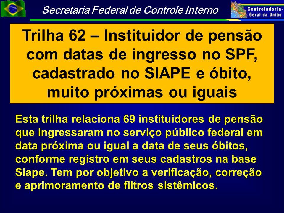 Trilha 62 – Instituidor de pensão com datas de ingresso no SPF, cadastrado no SIAPE e óbito, muito próximas ou iguais