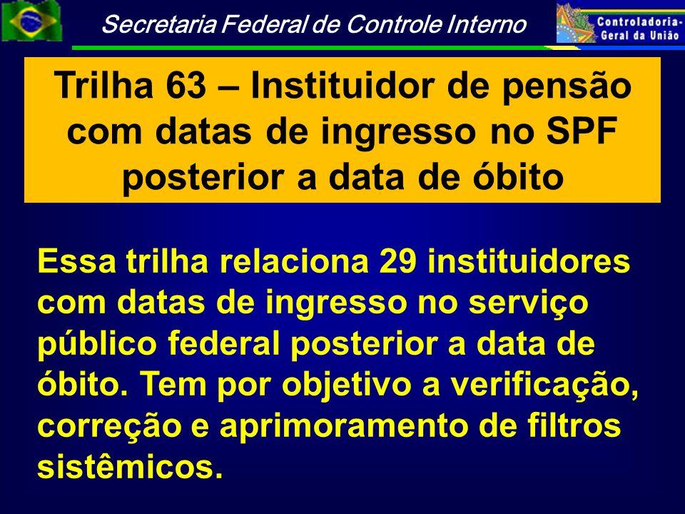 Trilha 63 – Instituidor de pensão com datas de ingresso no SPF posterior a data de óbito