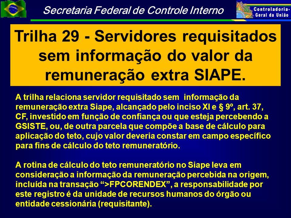 Trilha 29 - Servidores requisitados sem informação do valor da remuneração extra SIAPE.