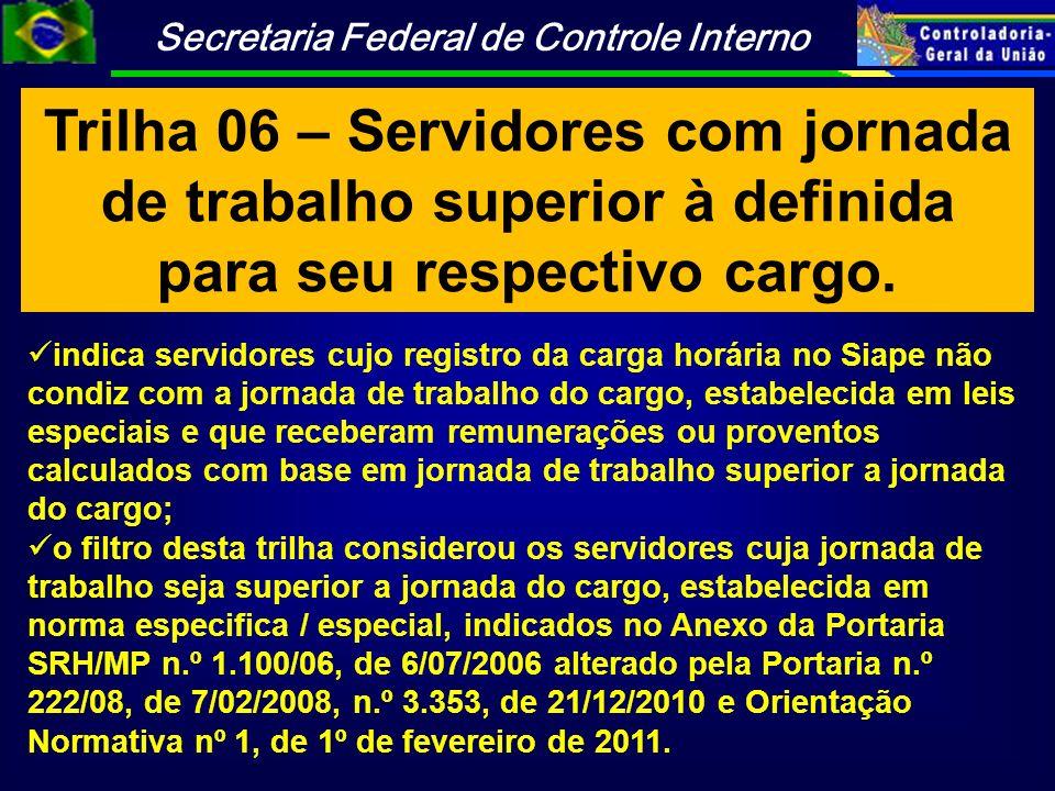 Trilha 06 – Servidores com jornada de trabalho superior à definida para seu respectivo cargo.