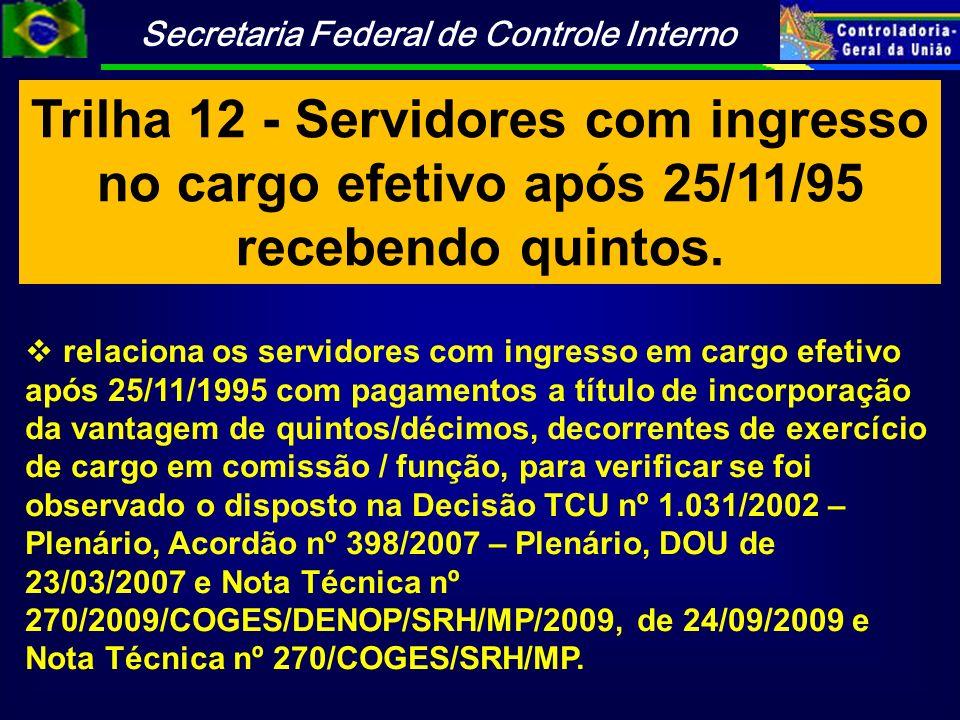 Trilha 12 - Servidores com ingresso no cargo efetivo após 25/11/95 recebendo quintos.