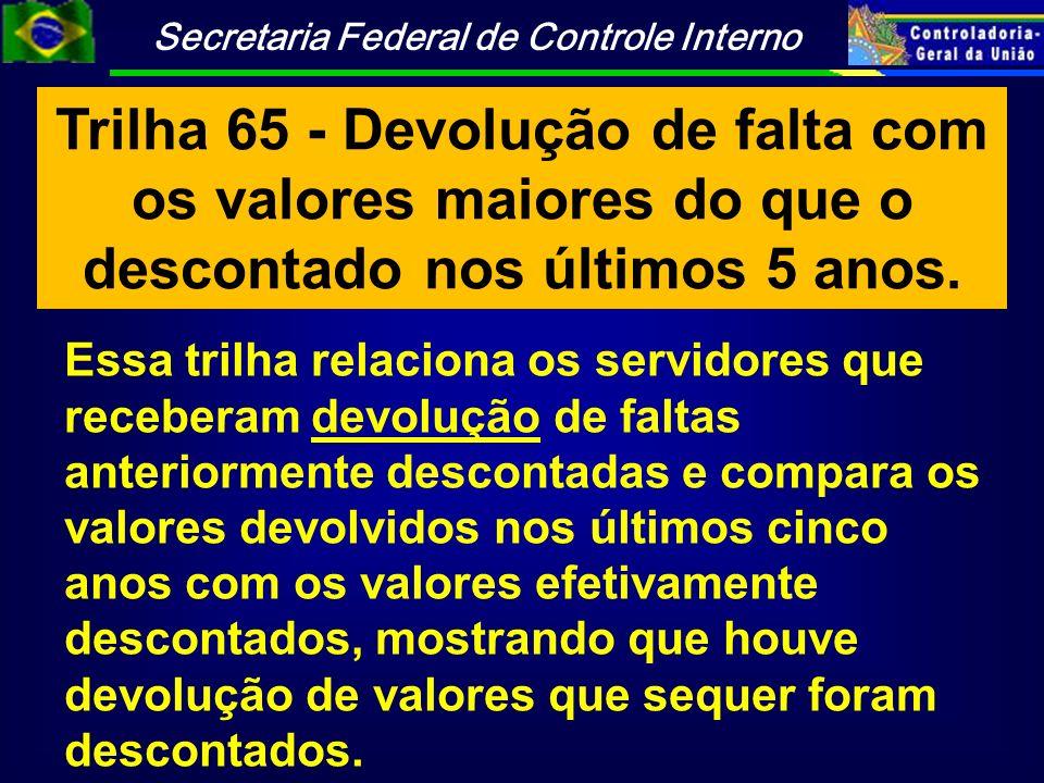 Trilha 65 - Devolução de falta com os valores maiores do que o descontado nos últimos 5 anos.