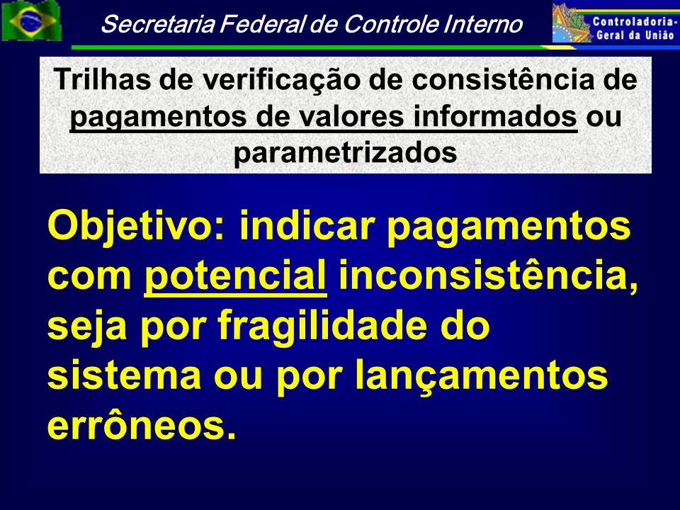 Trilhas de verificação de consistência de pagamentos de valores informados ou parametrizados