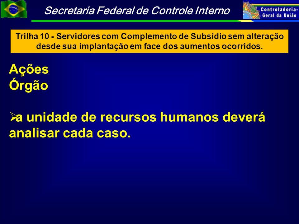 a unidade de recursos humanos deverá analisar cada caso.