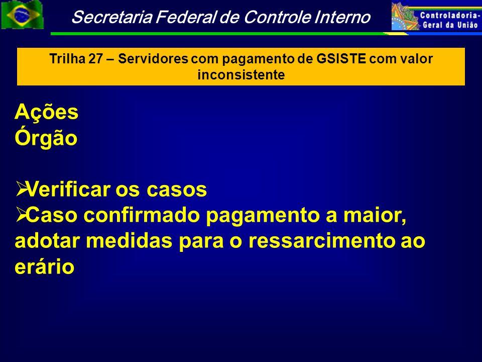 Trilha 27 – Servidores com pagamento de GSISTE com valor inconsistente