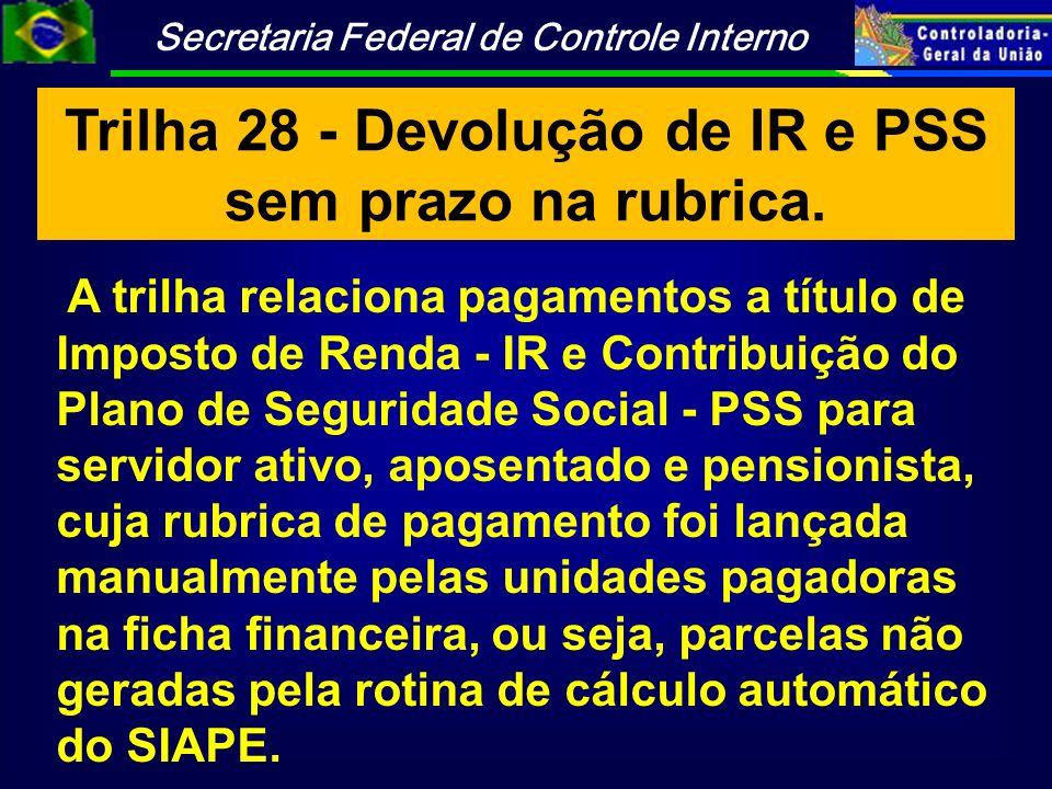 Trilha 28 - Devolução de IR e PSS sem prazo na rubrica.