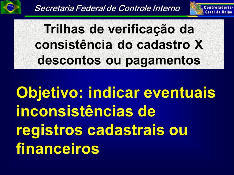 Trilhas de verificação da consistência do cadastro X descontos ou pagamentos