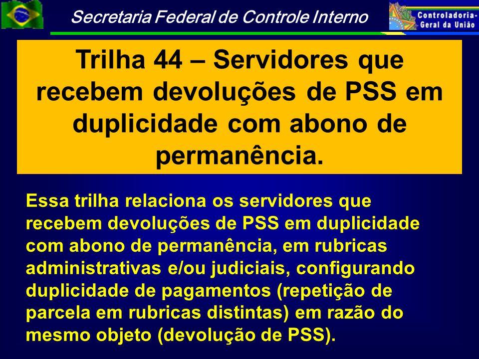 Trilha 44 – Servidores que recebem devoluções de PSS em duplicidade com abono de permanência.