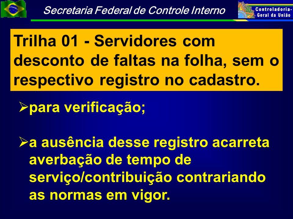 Trilha 01 - Servidores com desconto de faltas na folha, sem o respectivo registro no cadastro.