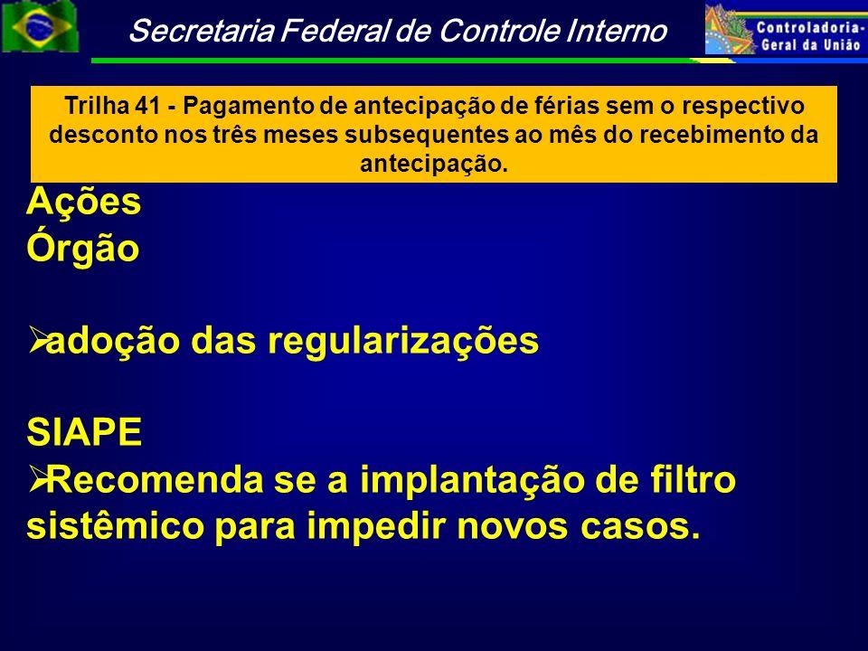 adoção das regularizações SIAPE