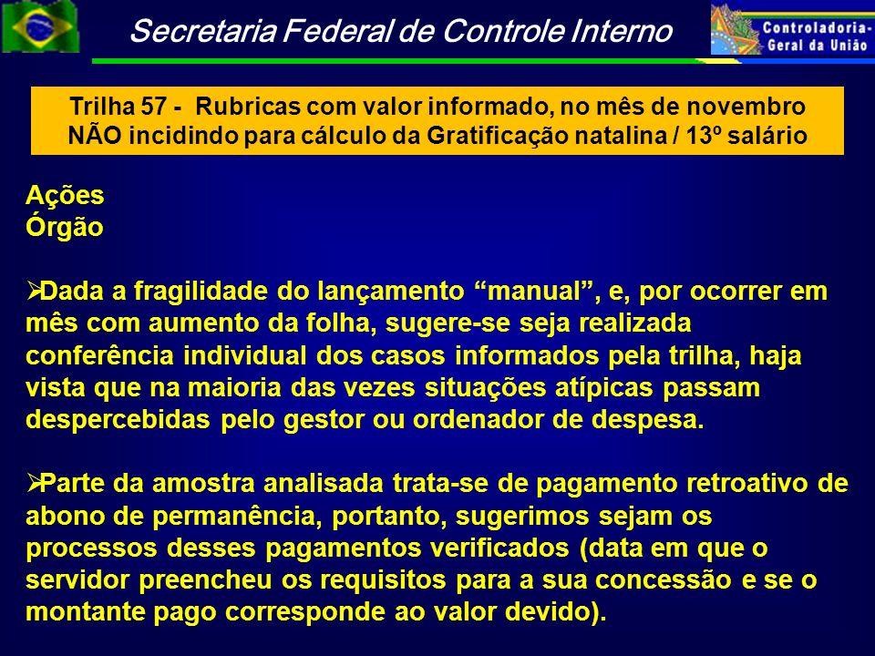 Trilha 57 - Rubricas com valor informado, no mês de novembro NÃO incidindo para cálculo da Gratificação natalina / 13º salário