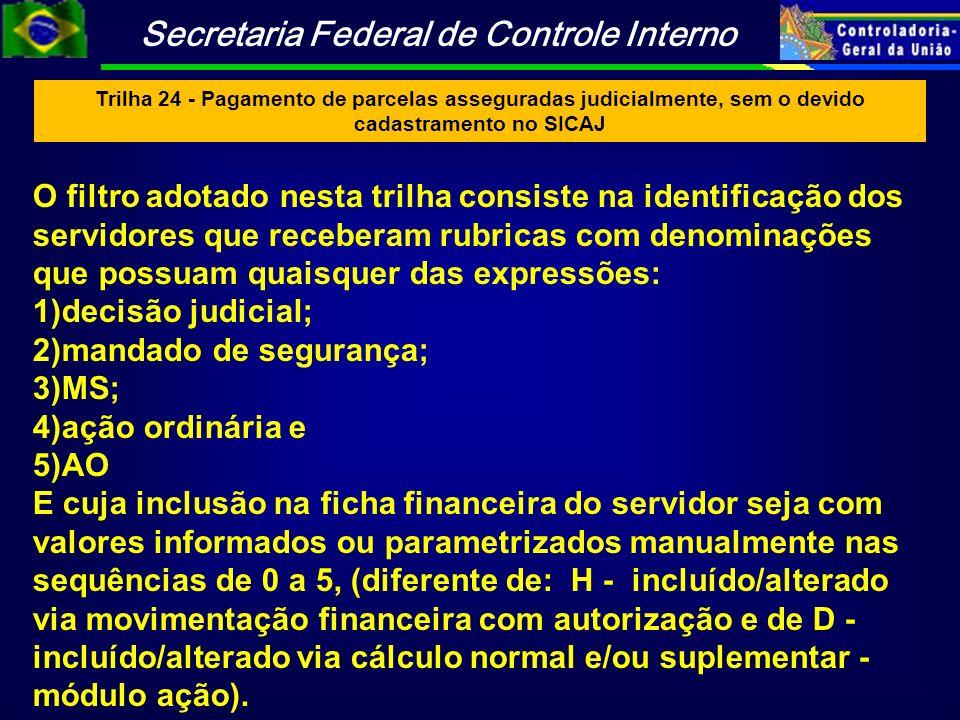 Trilha 24 - Pagamento de parcelas asseguradas judicialmente, sem o devido cadastramento no SICAJ