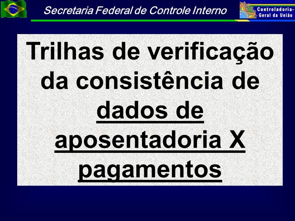 Trilhas de verificação da consistência de dados de aposentadoria X pagamentos