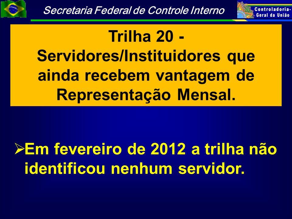 Trilha 20 - Servidores/Instituidores que ainda recebem vantagem de Representação Mensal.