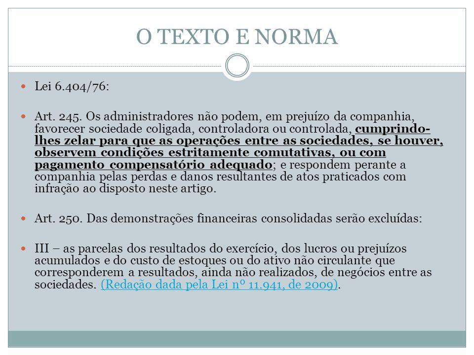 O TEXTO E NORMA Lei 6.404/76: