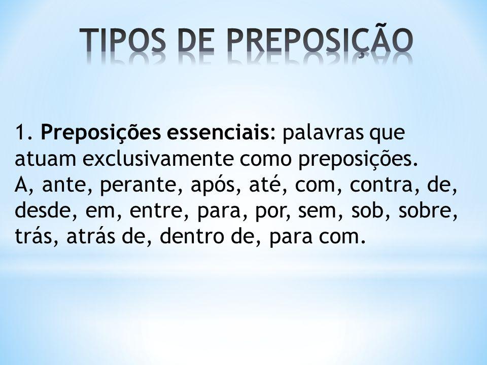 TIPOS DE PREPOSIÇÃO 1. Preposições essenciais: palavras que atuam exclusivamente como preposições.