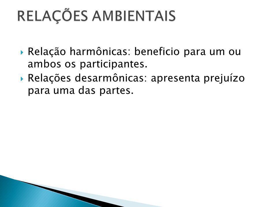 RELAÇÕES AMBIENTAIS Relação harmônicas: beneficio para um ou ambos os participantes.