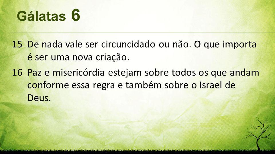 Gálatas 6 De nada vale ser circuncidado ou não. O que importa é ser uma nova criação.