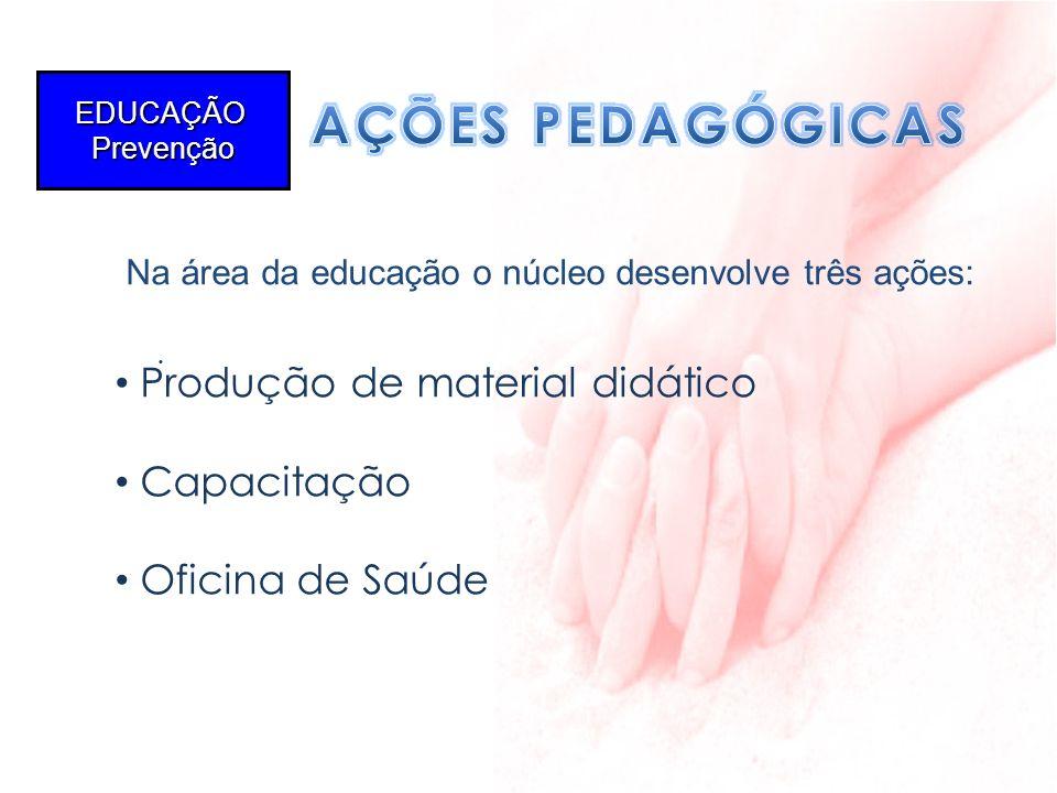 AÇÕES PEDAGÓGICAS Na área da educação o núcleo desenvolve três ações: