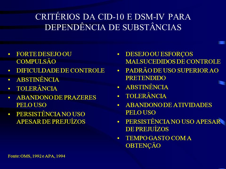 CRITÉRIOS DA CID-10 E DSM-IV PARA DEPENDÊNCIA DE SUBSTÂNCIAS