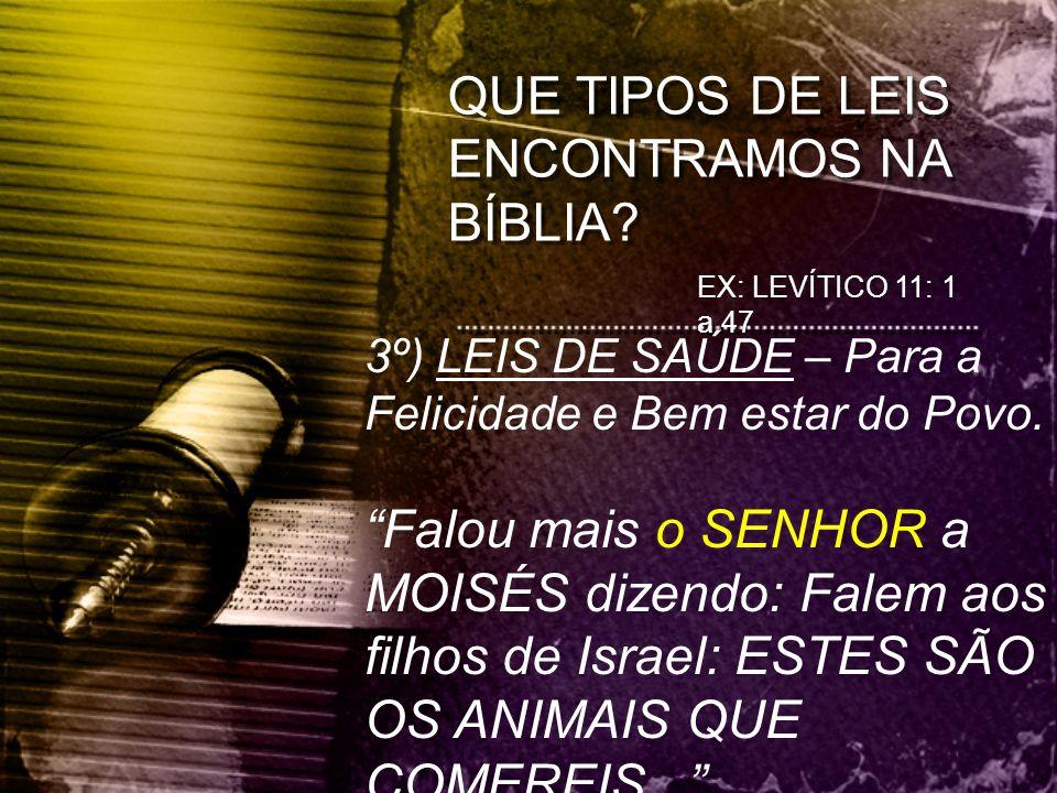 QUE TIPOS DE LEIS ENCONTRAMOS NA BÍBLIA
