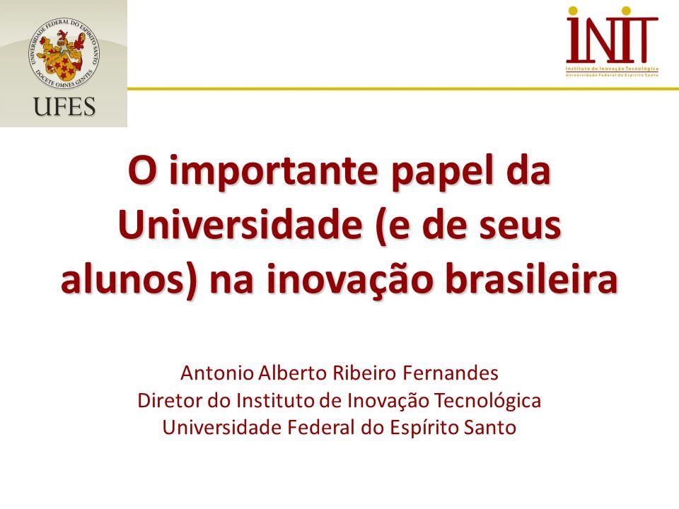 O importante papel da Universidade (e de seus alunos) na inovação brasileira Antonio Alberto Ribeiro Fernandes Diretor do Instituto de Inovação Tecnológica Universidade Federal do Espírito Santo