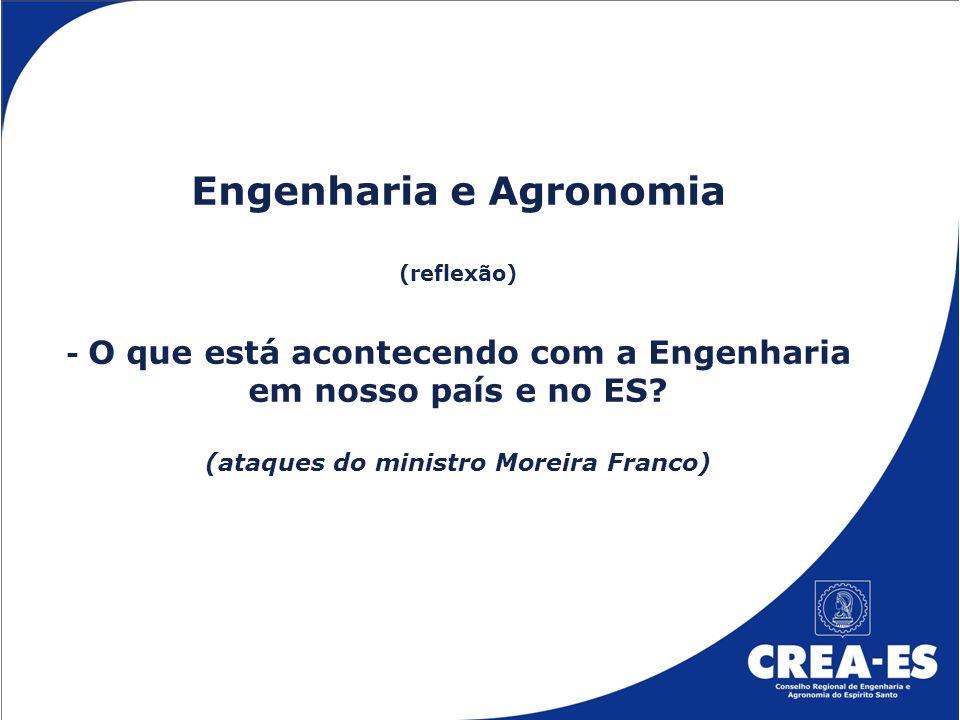 Engenharia e Agronomia (reflexão) - O que está acontecendo com a Engenharia em nosso país e no ES.