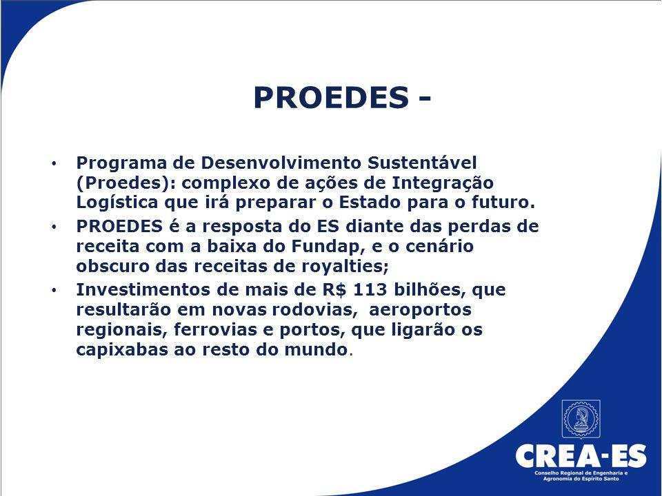 PROEDES - Programa de Desenvolvimento Sustentável (Proedes): complexo de ações de Integração Logística que irá preparar o Estado para o futuro.