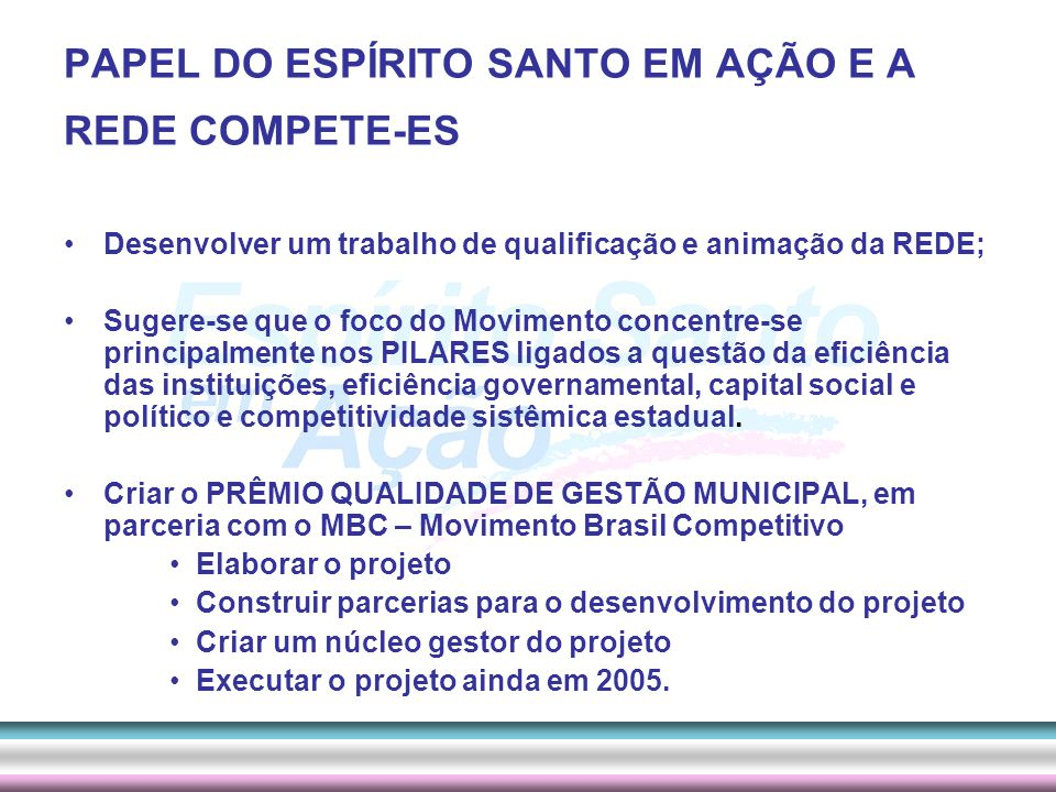 PAPEL DO ESPÍRITO SANTO EM AÇÃO E A REDE COMPETE-ES