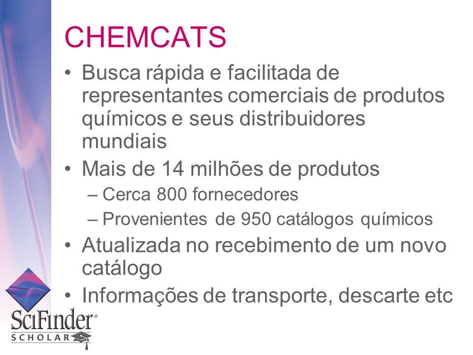 CHEMCATS Busca rápida e facilitada de representantes comerciais de produtos químicos e seus distribuidores mundiais.