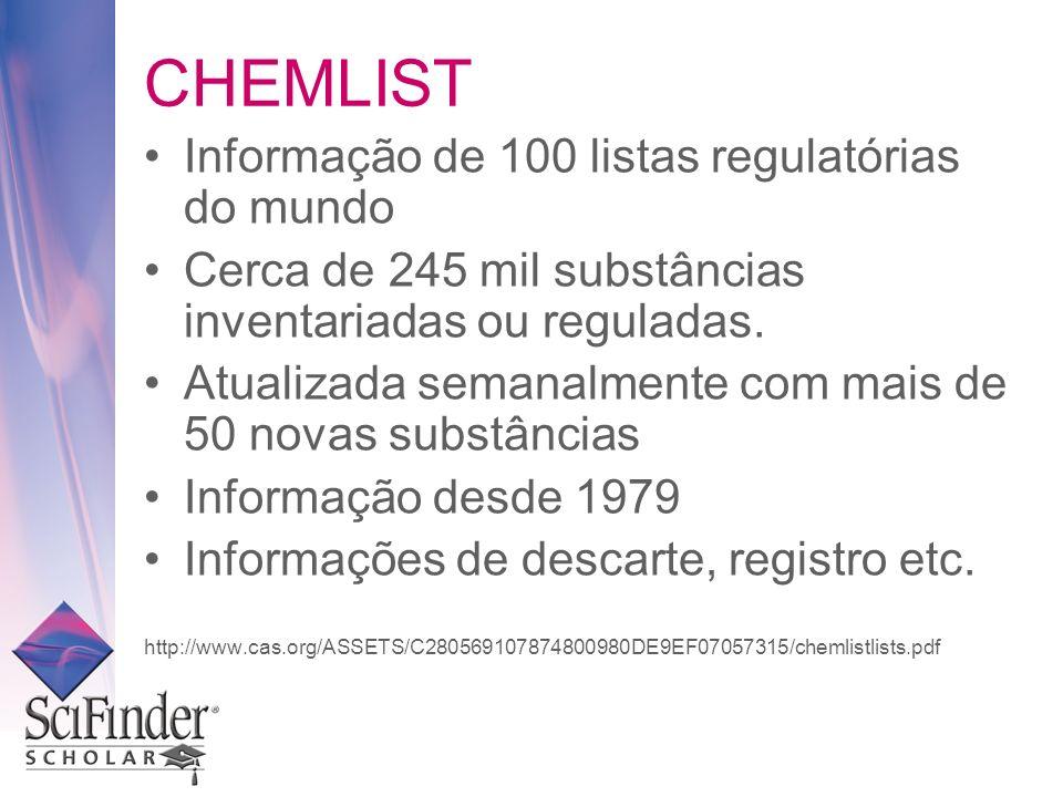 CHEMLIST Informação de 100 listas regulatórias do mundo