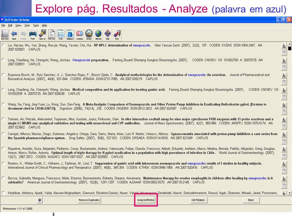 Explore pág. Resultados - Analyze (palavra em azul)