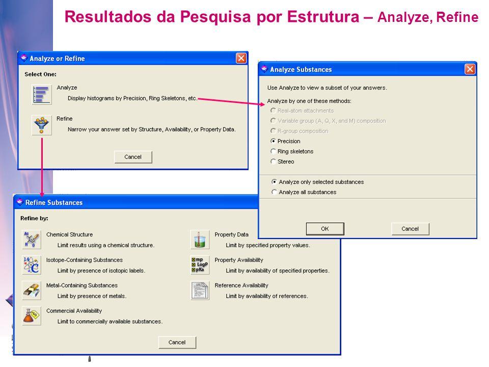 Resultados da Pesquisa por Estrutura – Analyze, Refine