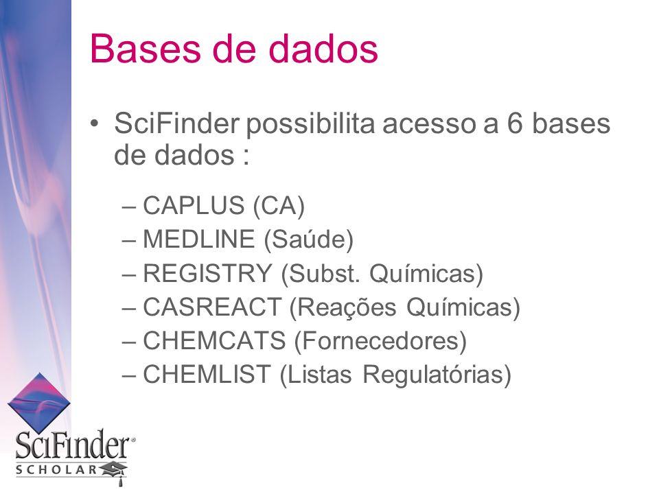 Bases de dados SciFinder possibilita acesso a 6 bases de dados :