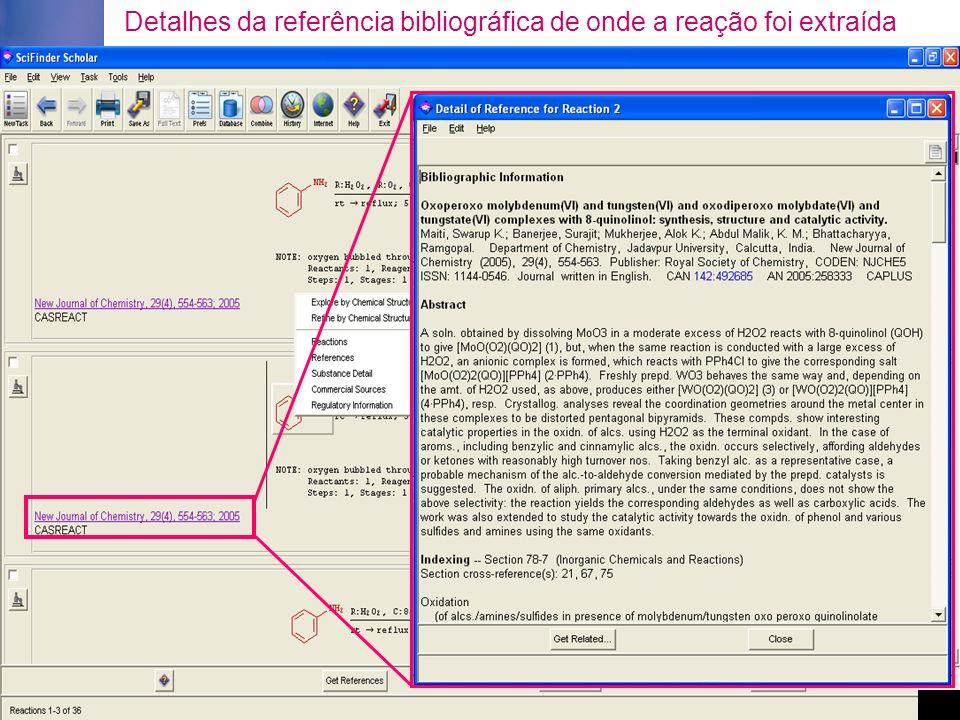 Detalhes da referência bibliográfica de onde a reação foi extraída