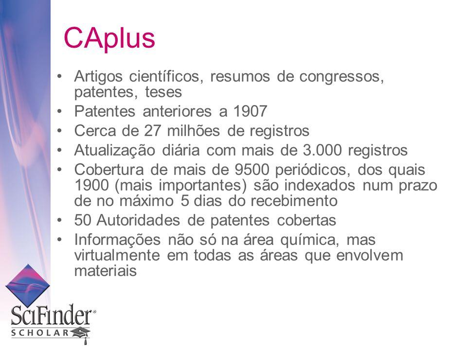 CAplus Artigos científicos, resumos de congressos, patentes, teses