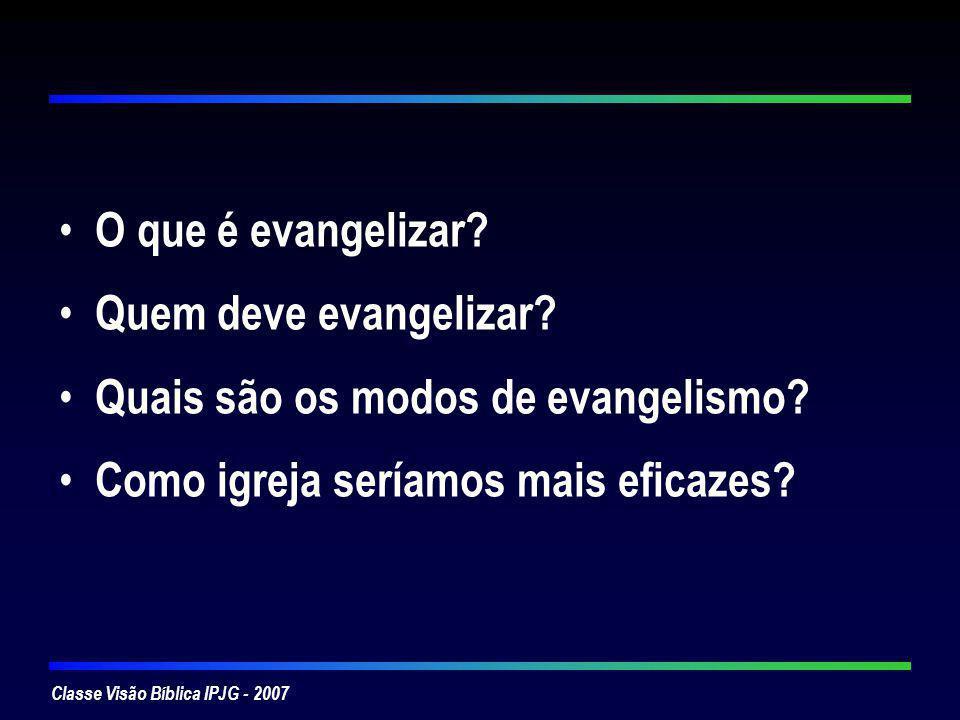 O que é evangelizar. Quem deve evangelizar. Quais são os modos de evangelismo.
