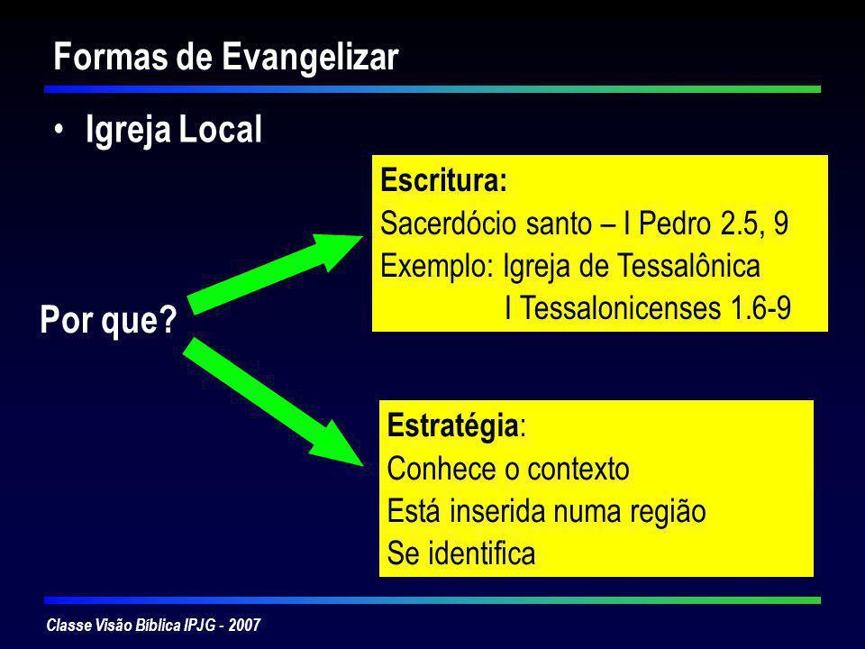 Formas de Evangelizar Igreja Local Por que Escritura: